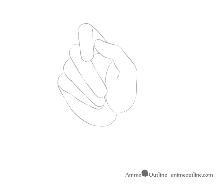 Hand holding chopsticks palm view fingers drawing