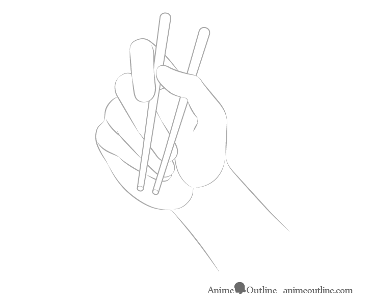 Hand holding chopsticks palm view outline drawing