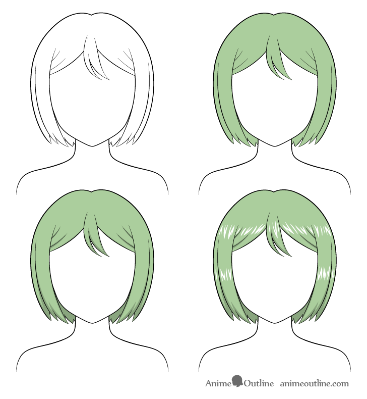 Shading anime combed hair step by step