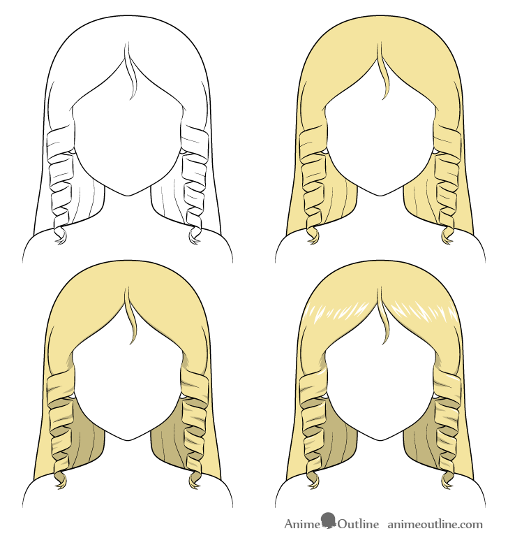 Shading anime curly hair step by step