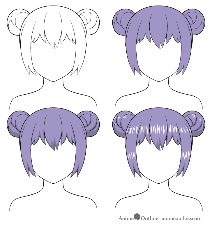 shading anime hair buns step by step