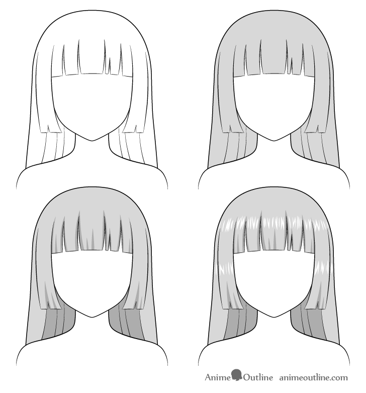 Shading anime hime cut hair step by step