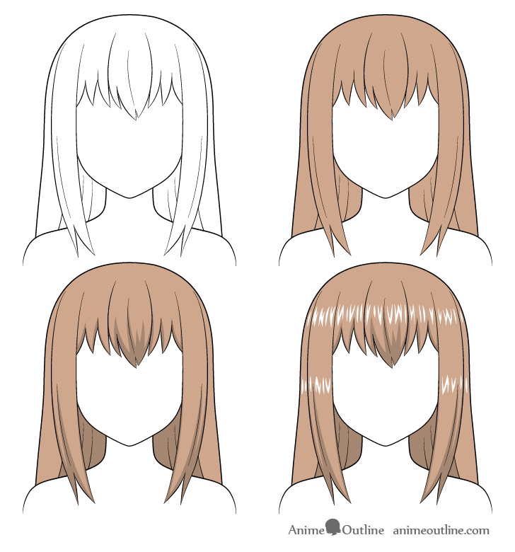 Shading anime long hair step by step