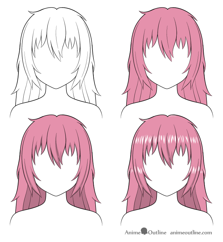 Shading anime long messy hair step by step