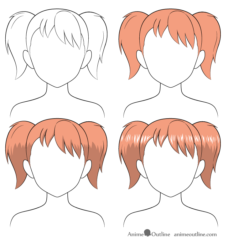 Shading anime pigtails hair step by step
