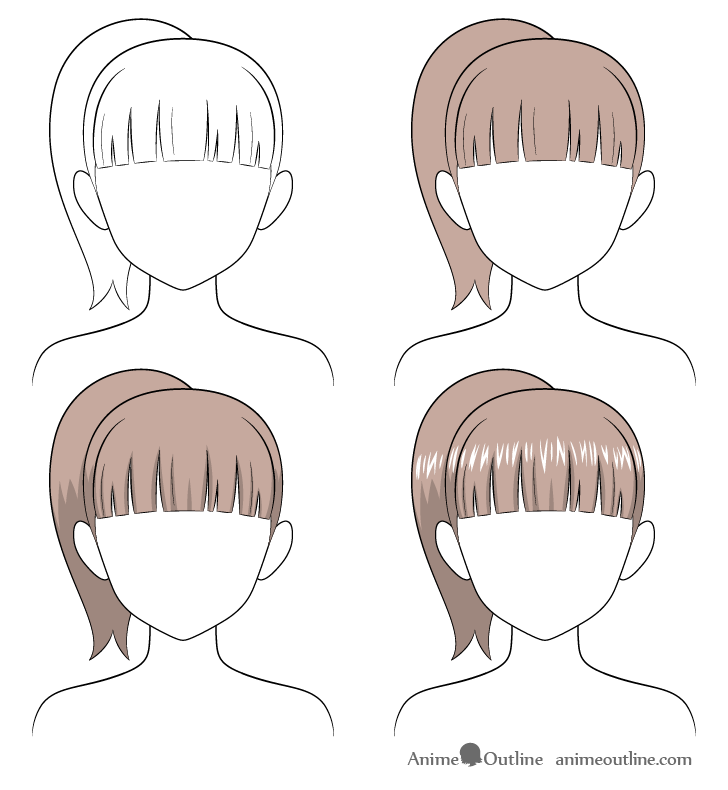Anime ponytail hair drawing step by step
