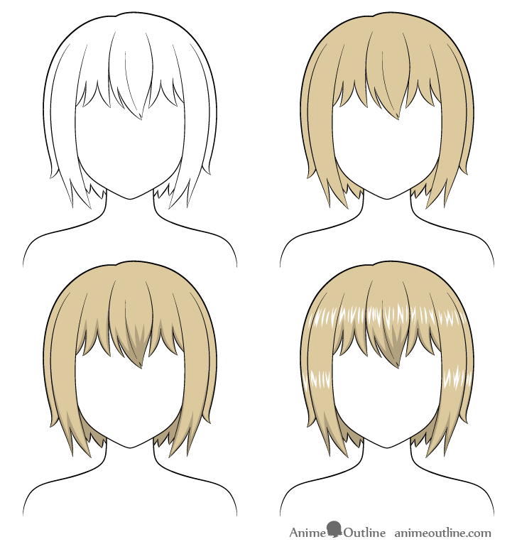 Shading anime short hair step by step