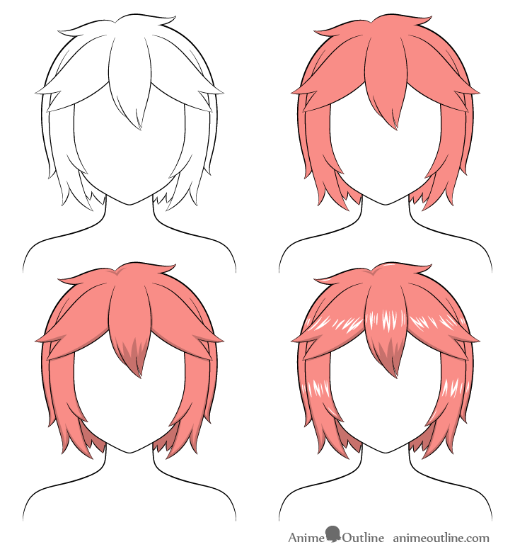 Shading anime short messy hair step by step