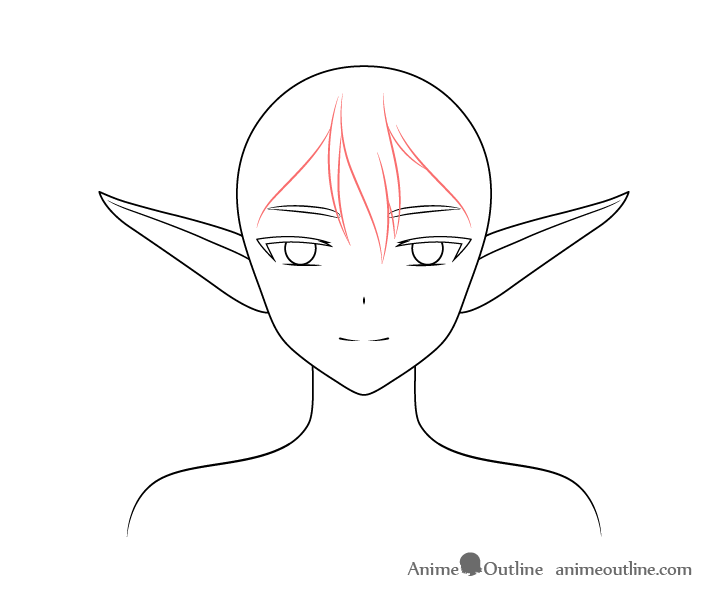 Anime elf girl front hair drawing