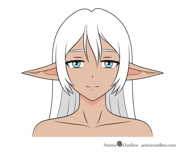Anime dark elf girl ears down drawing