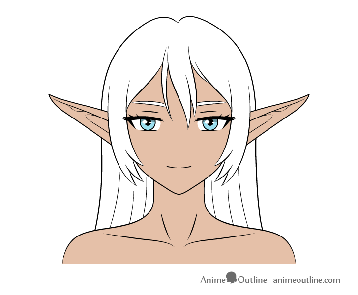 Anime dark elf girl coloring