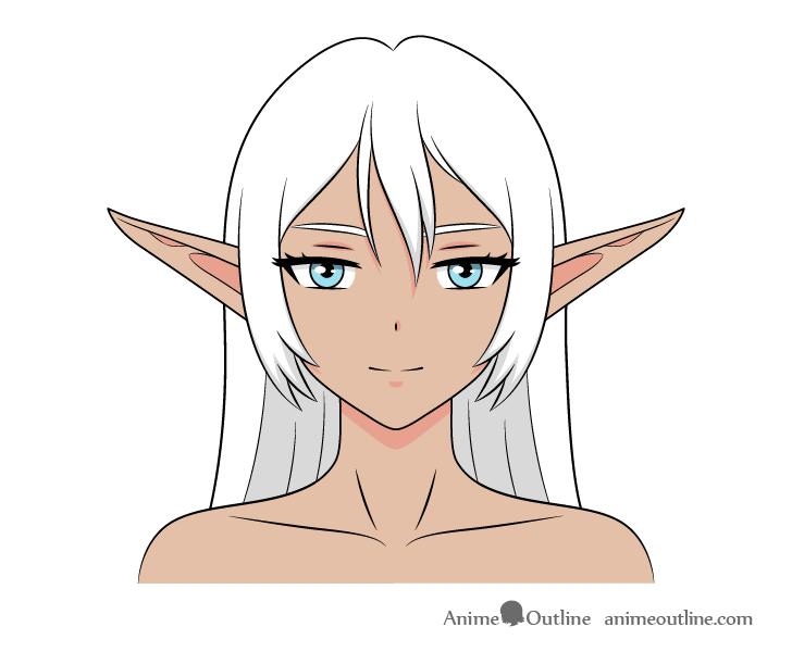 Anime dark elf girl drawing