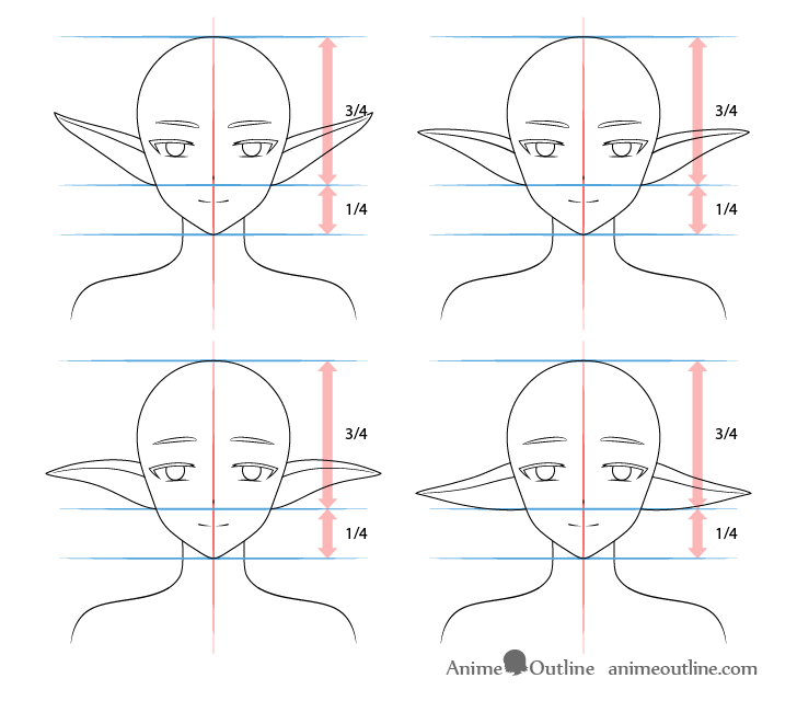 Anime elf ears drawing different types