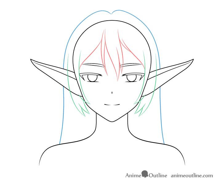 Anime elf girl back hair drawing