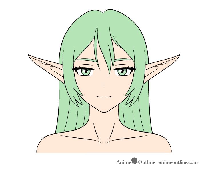 Anime elf girl coloring