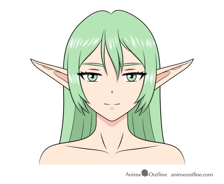 Anime elf girl drawing