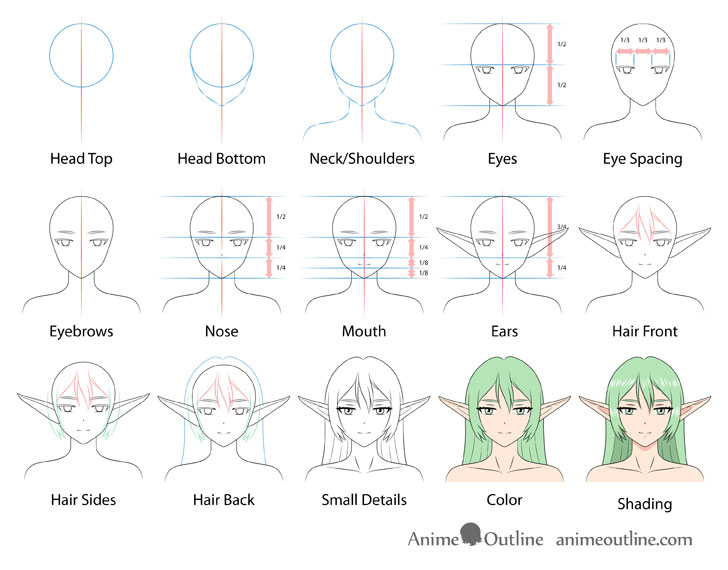 Anime elf girl drawing step by step