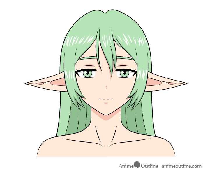 Anime elf girl ears down drawing