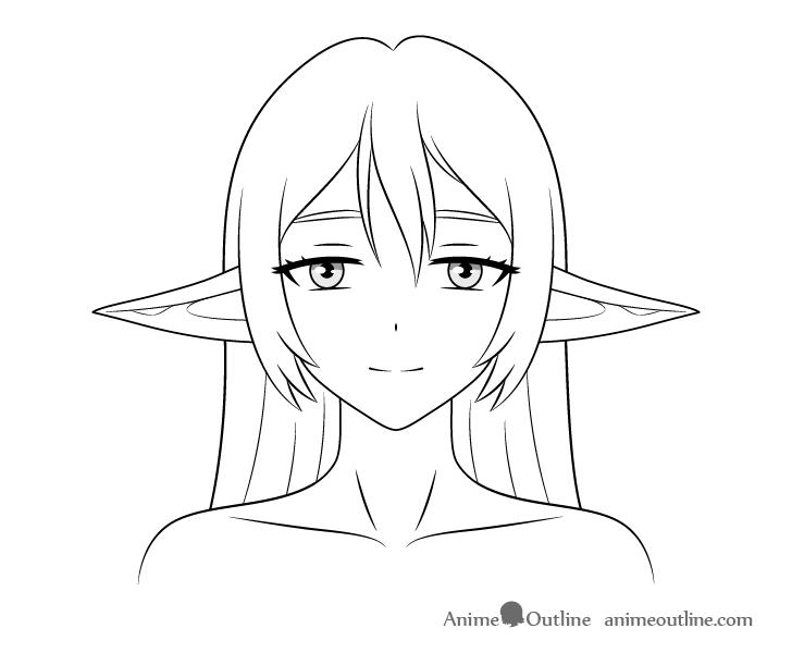 Anime elf girl lowered ears drawing