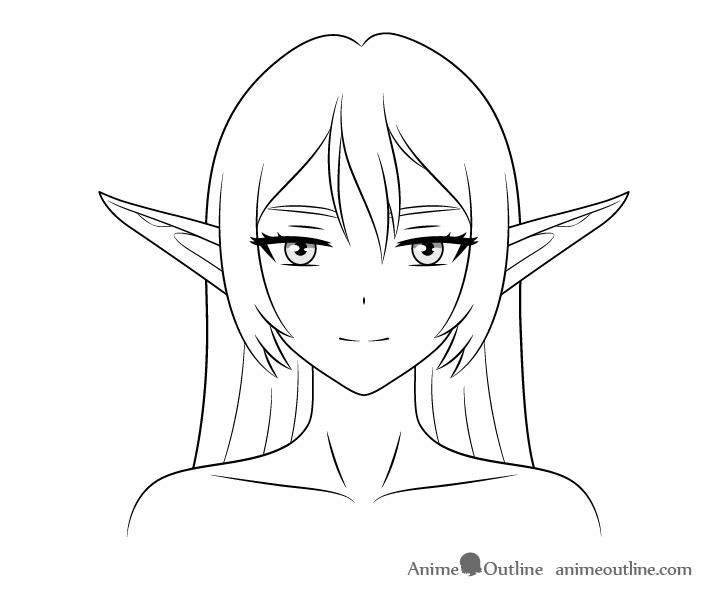 Anime elf girl raised ears drawing