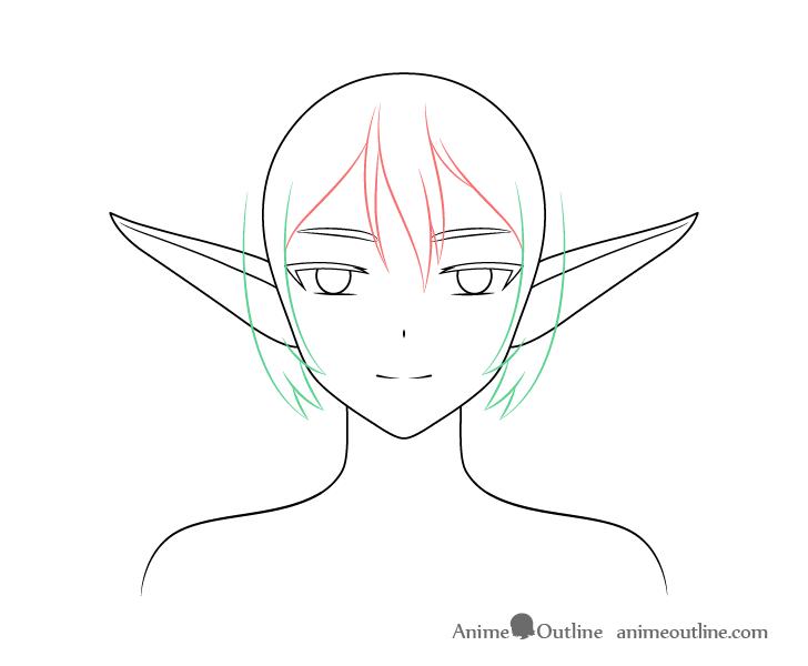 Anime elf girl sides hair drawing