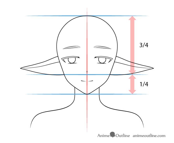 Anime lowered elf ears drawing