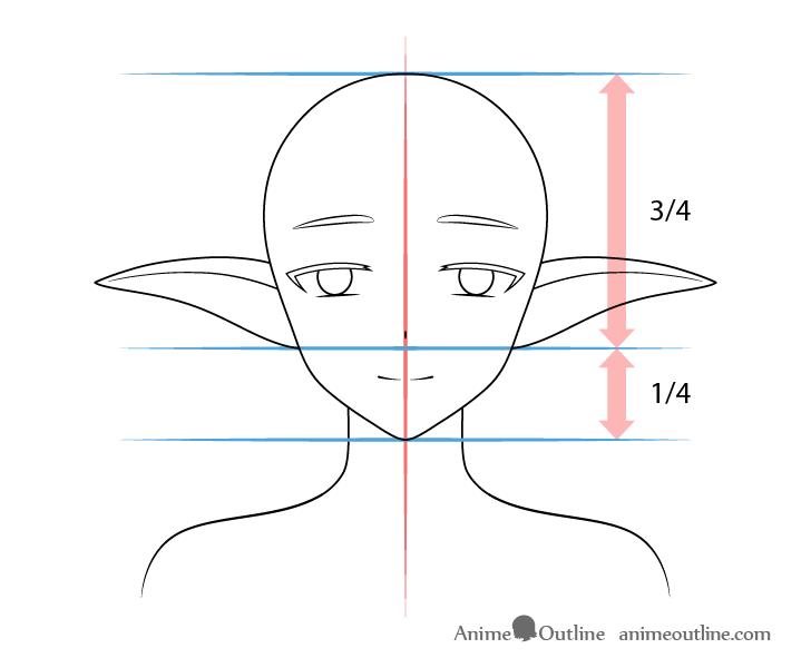 Anime medium lowered elf ears drawing