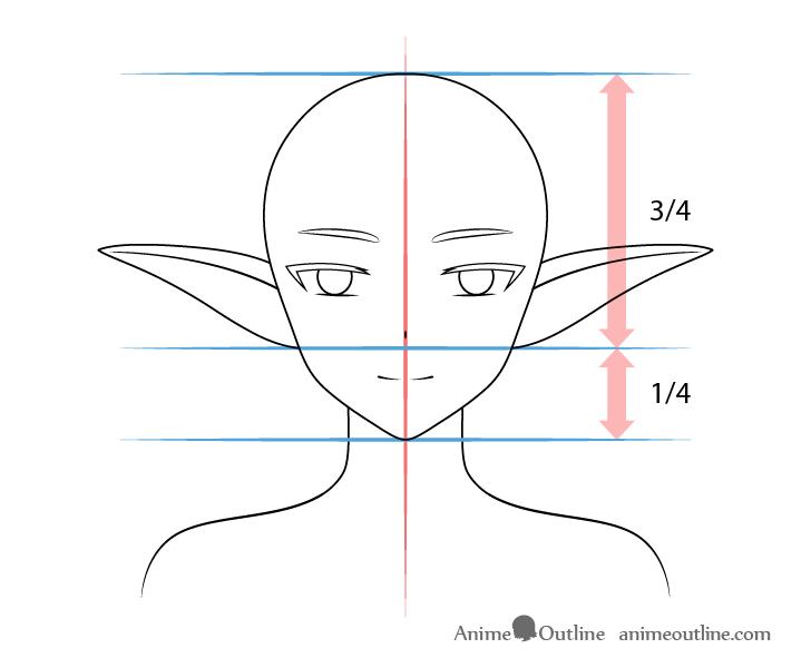 Anime medium raised elf ears drawing