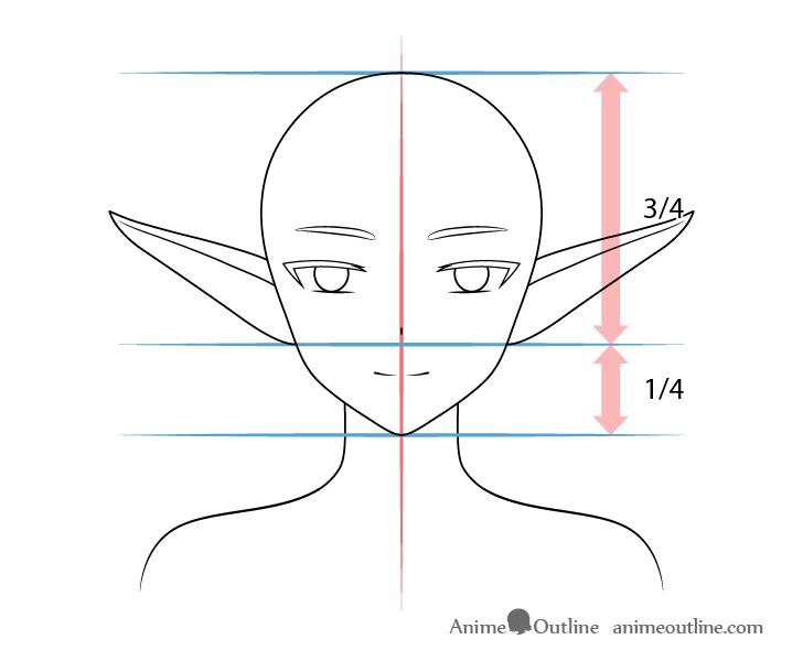 Anime raised elf ears drawing