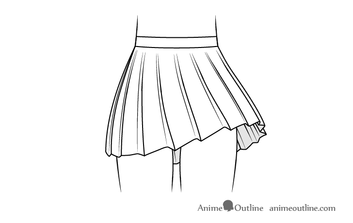 Anime school skirt blowing in wind drawing