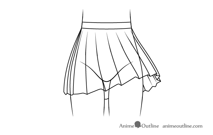 Anime school skirt blowing in wind line drawing