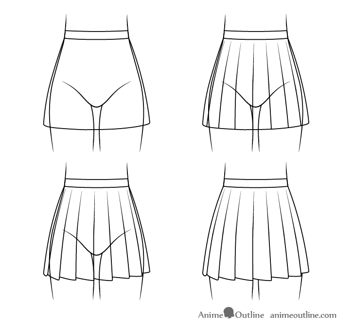 Anime school skirt drawing step by step