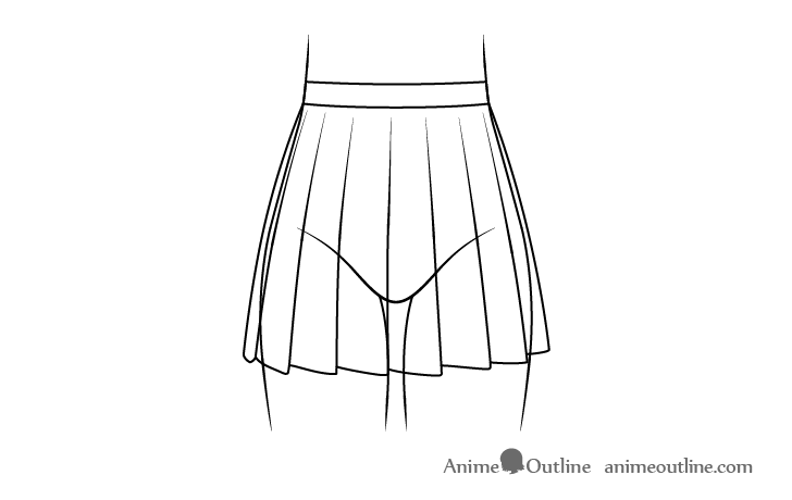 Anime school skirt line drawing