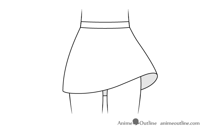 Anime skirt blowing in wind drawing