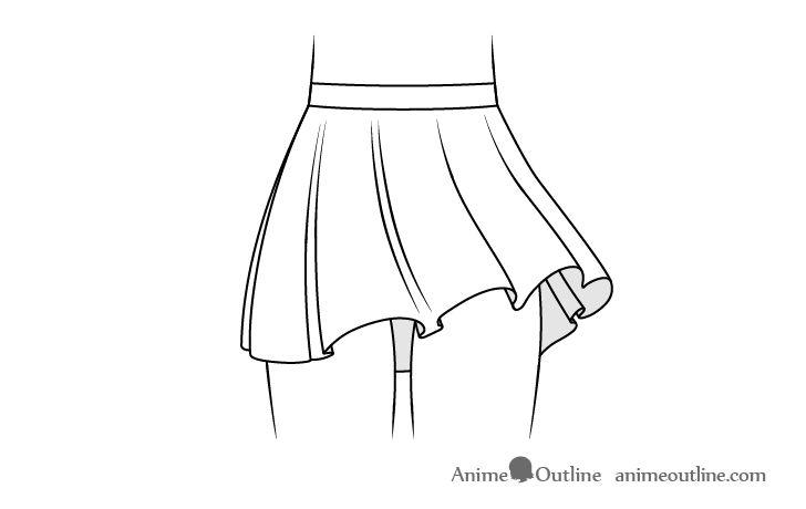 Anime skirt with folds blowing in wind drawing