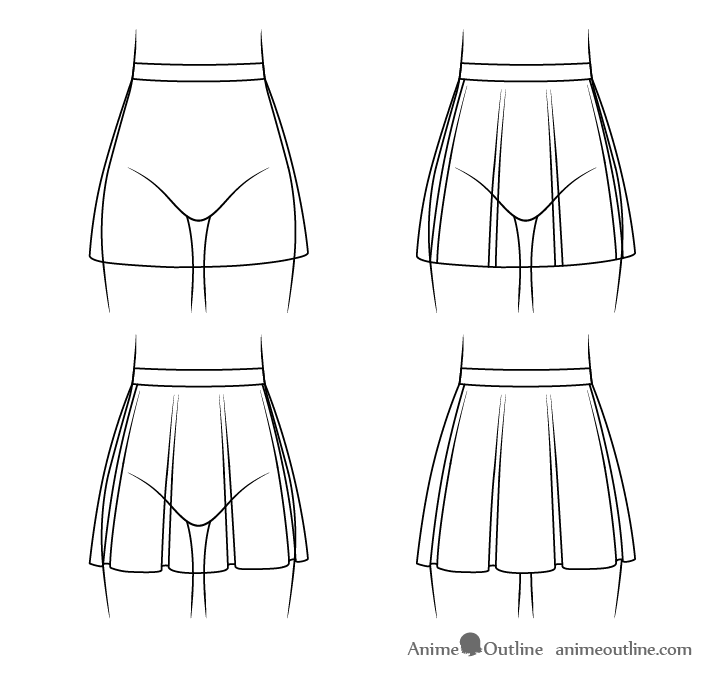 Anime skirt with folds drawing step by step