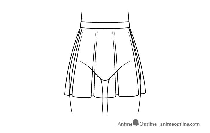 Anime skirt with folds line drawing
