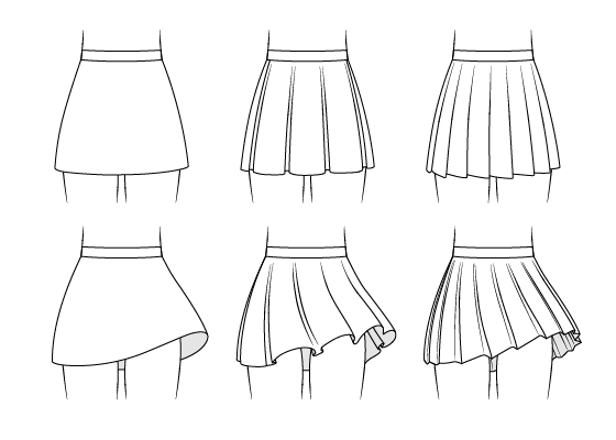 Anime skirts drawing