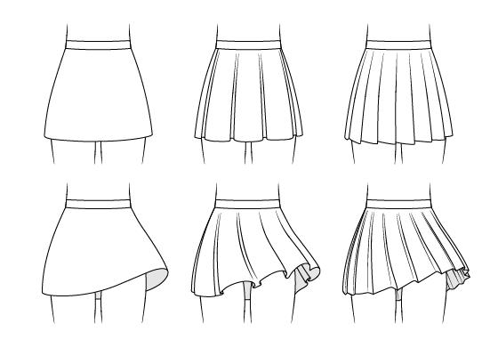 Anime skirts drawing