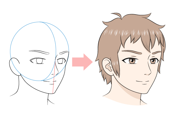 Anime male face 3/4 view
