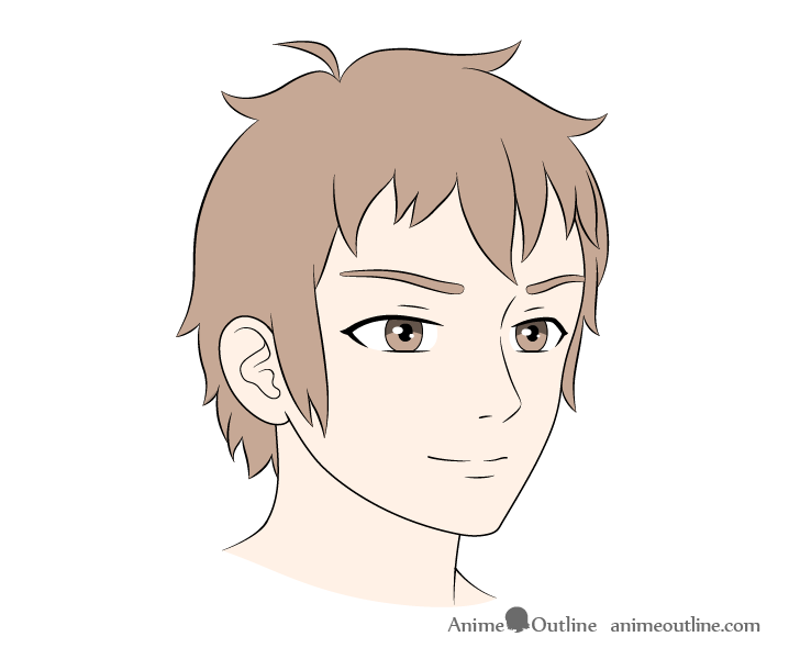 Anime male face 3/4 view coloring