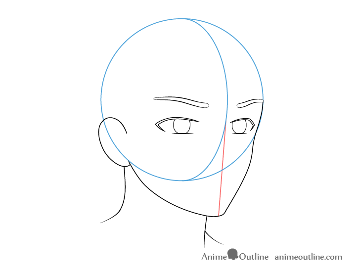 Anime male face 3/4 view eyebrows drawing