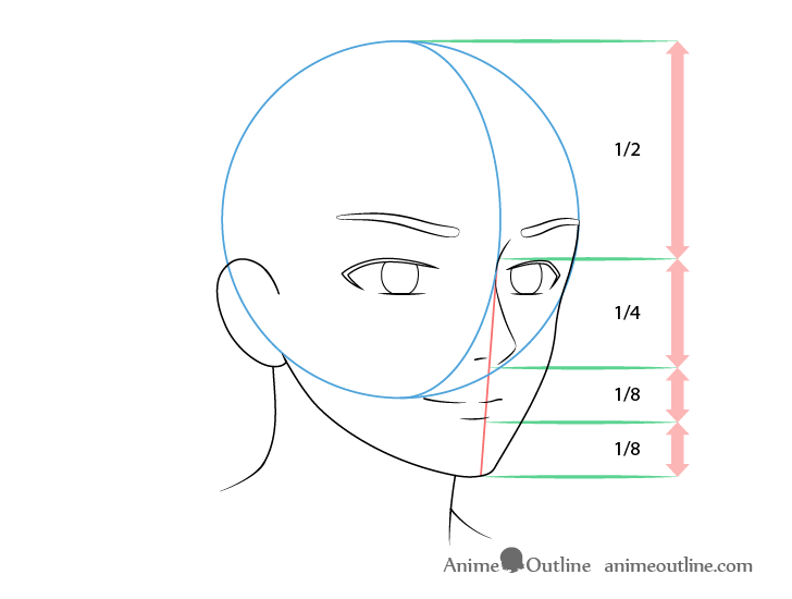 Anime male face 3/4 view mouth drawing