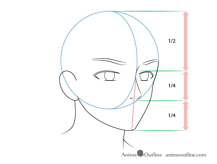 Anime male face 3/4 view nose drawing