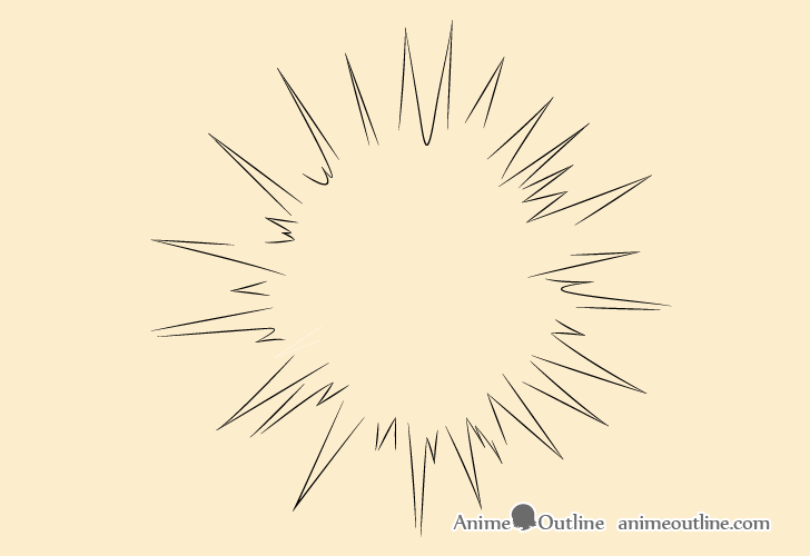 Air explosion outline drawing