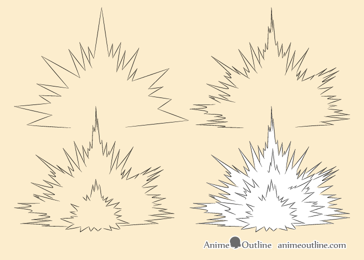 Blast explosion drawing step by step