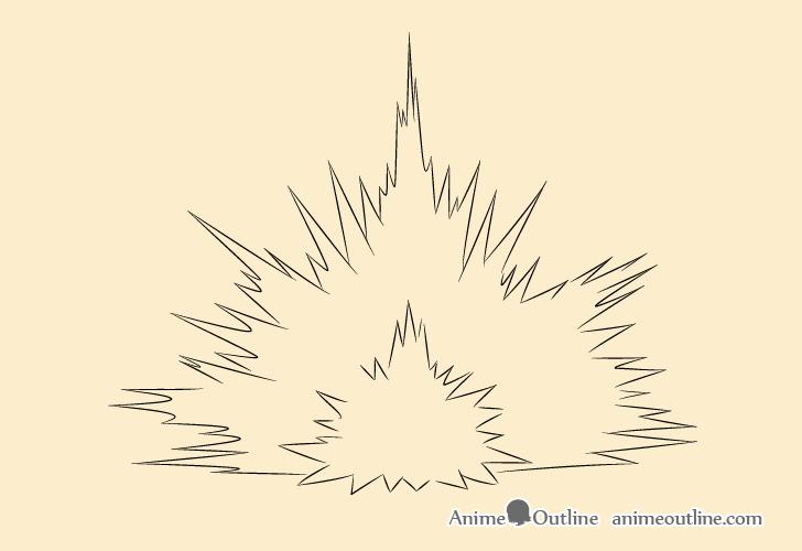 Blast explosion inner details drawing