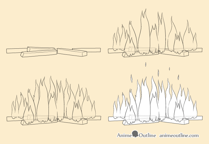 Fire drawing step by step