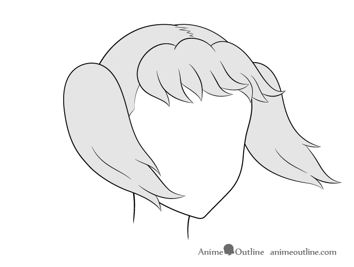 Anime pigtails hair blowing in wind 3/4 view drawing