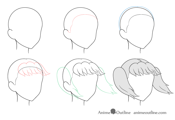 Anime pigtails hair blowing in wind 3/4 view drawing step by step